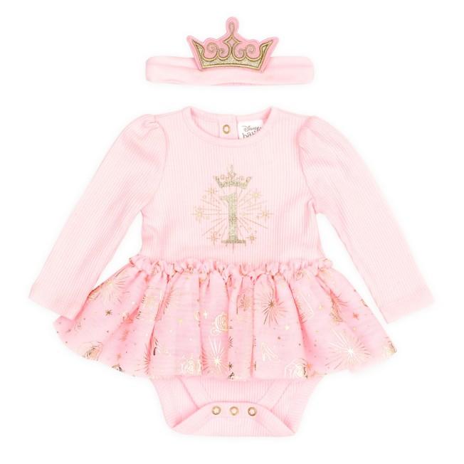 Disney Princess 1st Birthday Bodysuit and Headband Set for Baby