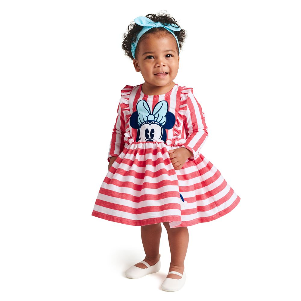 Minnie Mouse Striped Dress and Headband Set for Baby