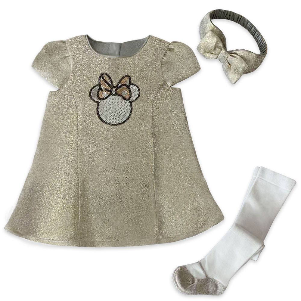 Minnie Mouse Gold Holiday Dress Set for Baby