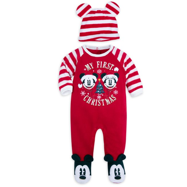 Mickey and Minnie Mouse ''My First Christmas'' Sleeper and Hat Set for Baby