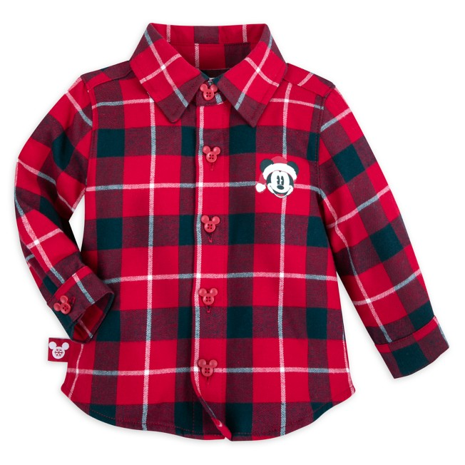 Mickey Mouse Holiday Woven Shirt for Baby – Personalized