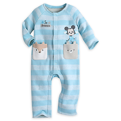 Mickey Mouse Striped Knit Romper for Baby