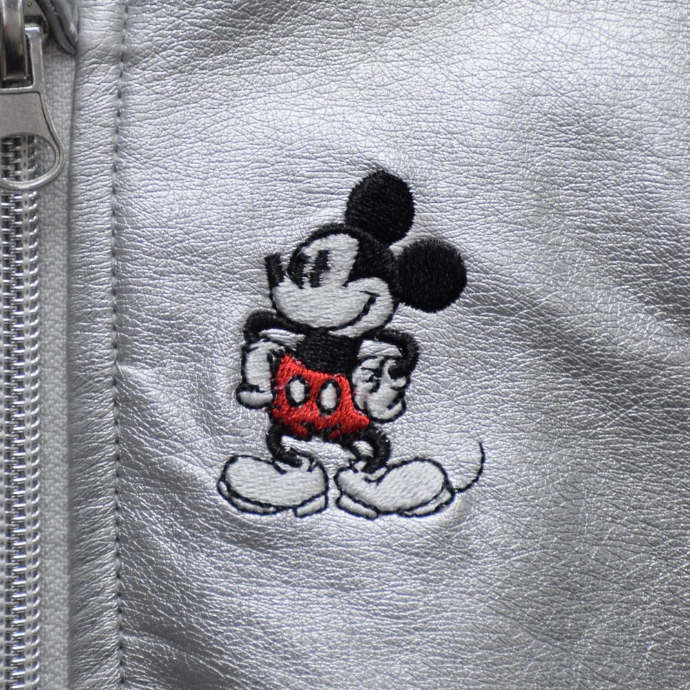 Mickey Mouse Grayscale Faux Leather Bomber Jacket for Baby – Personalized