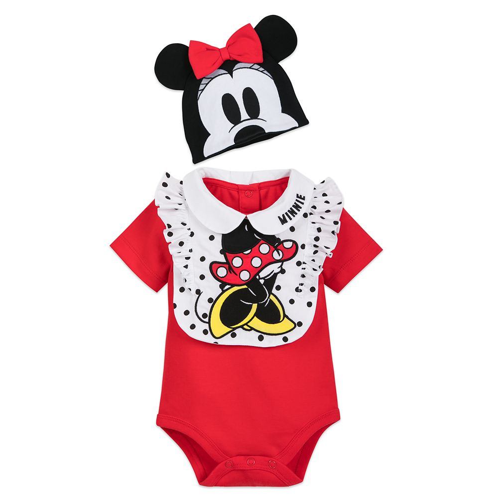 Minnie Mouse Bodysuit, Bib, and Beanie Set for Baby