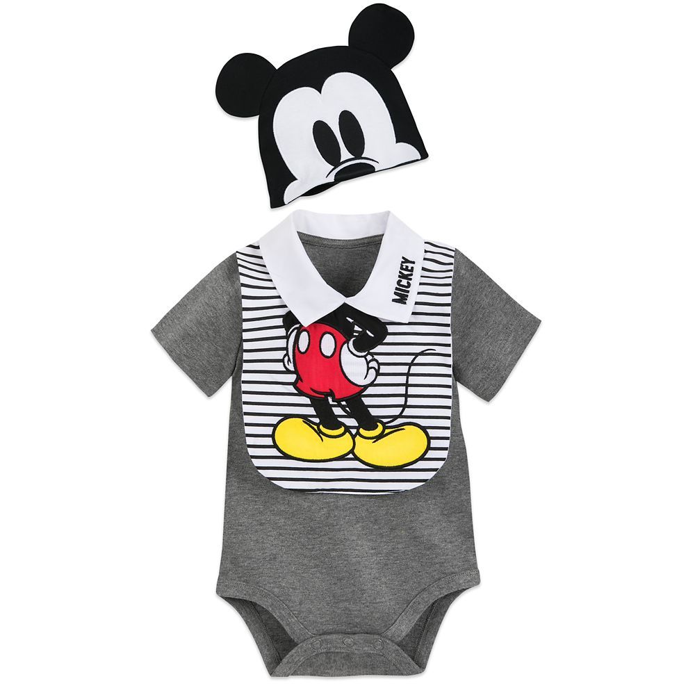 Mickey Mouse Bodysuit, Bib, and Beanie Set for Baby