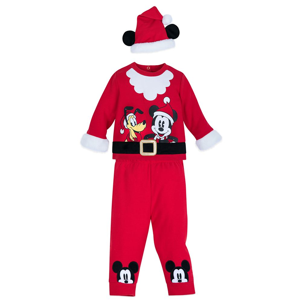 Mickey Mouse and Pluto Santa Suit Set for Baby