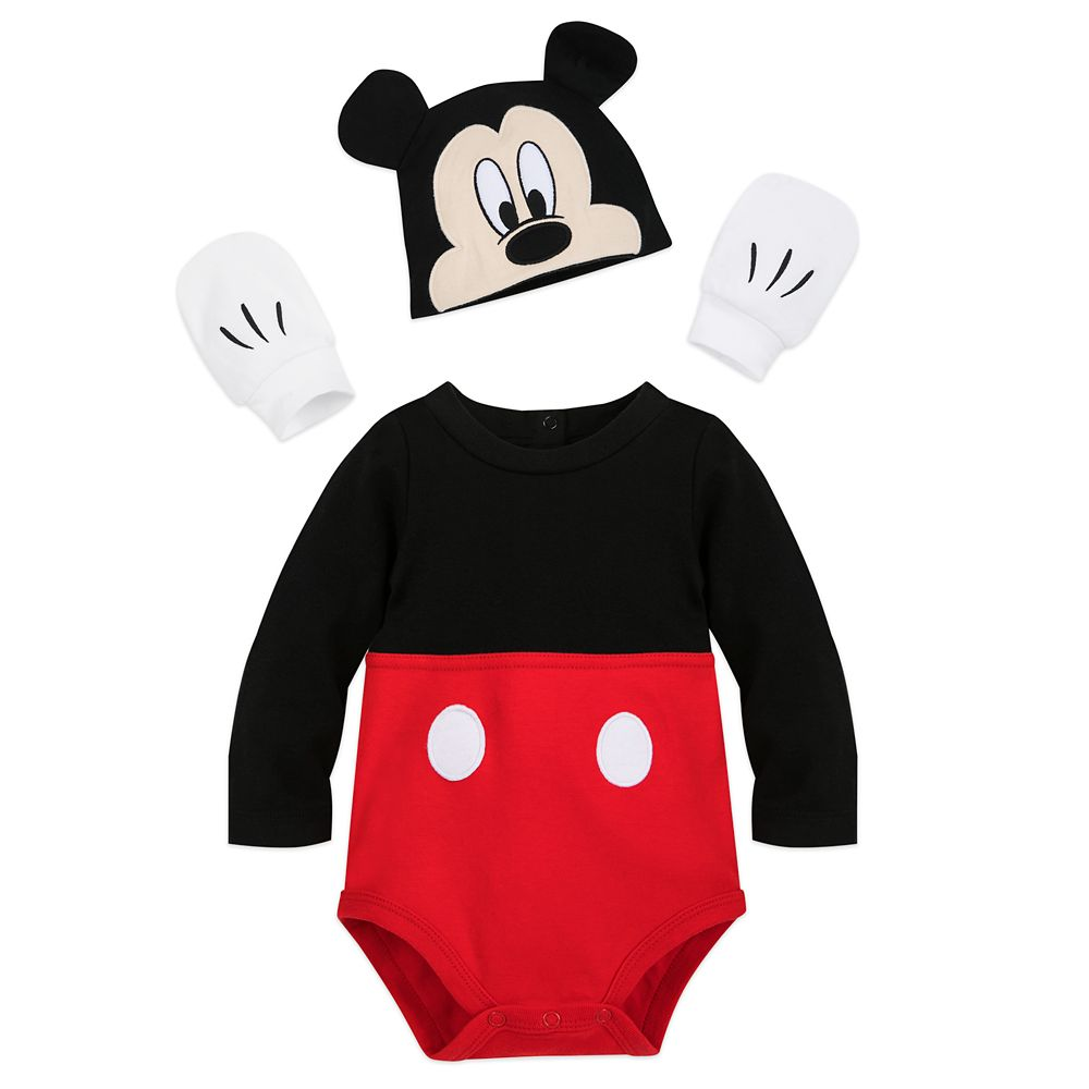 Disney Store Minnie Mouse Baby Fleece Costume Baby Romper Bodysuit Halloween NEW