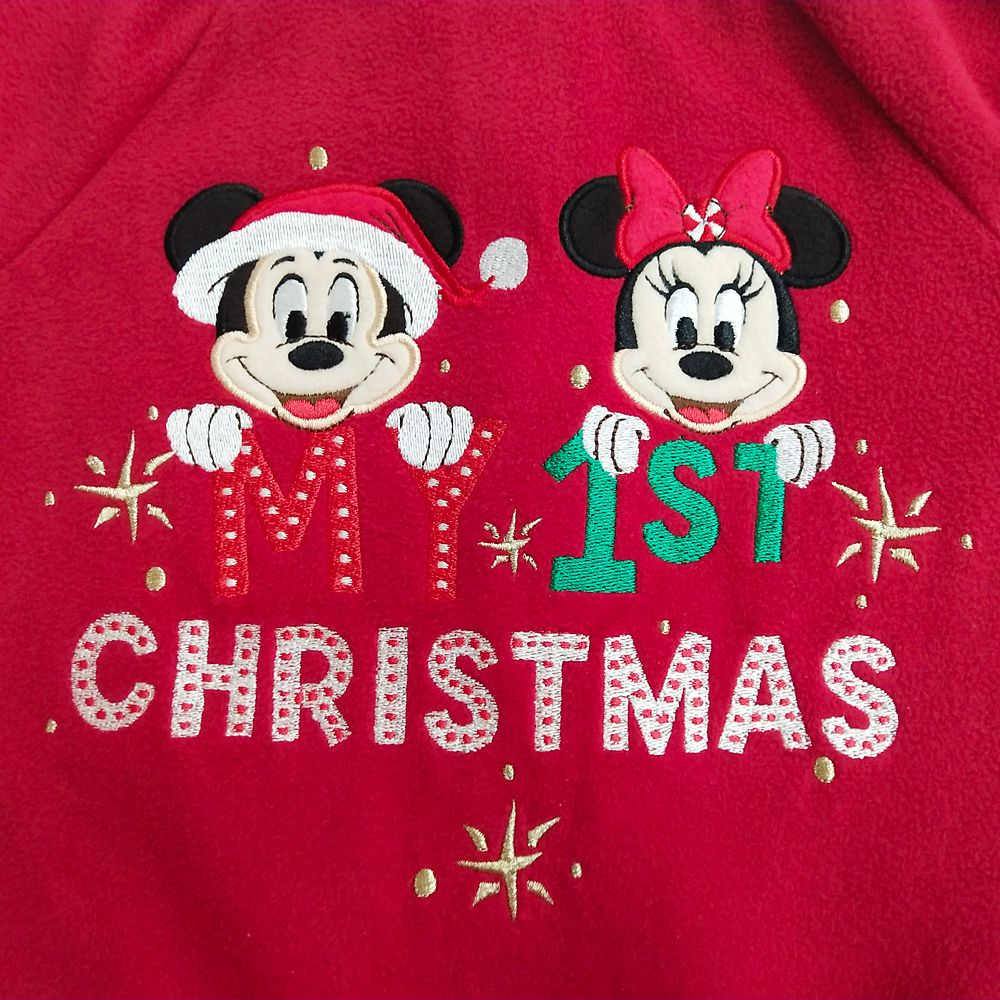 Mickey and Minnie Mouse Holiday Blanket Sleeper for Baby