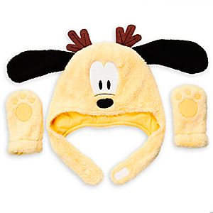 Pluto Plush Holiday Warmwear Hat and Mittens Set for Baby