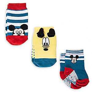 Mickey Mouse and Pluto Sock Set for Baby  -  3 - Pack