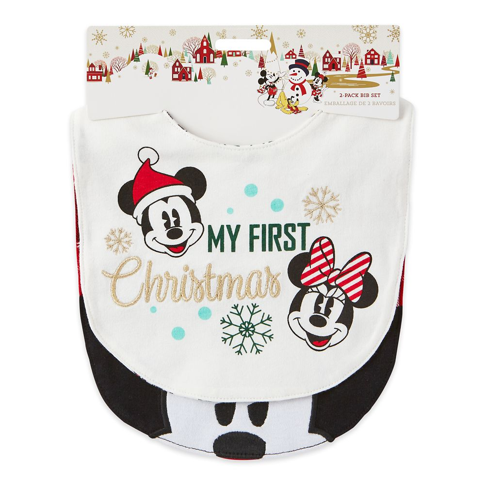 Mickey and Minnie Mouse Holiday Bib Set for Baby