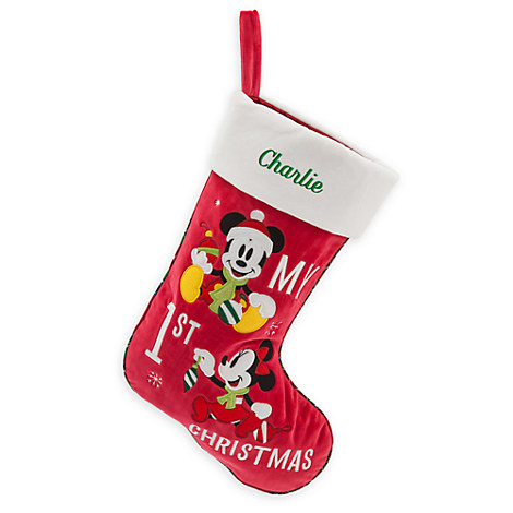 Mickey and Minnie Mouse ''My 1st Christmas'' Stocking - Personalizable