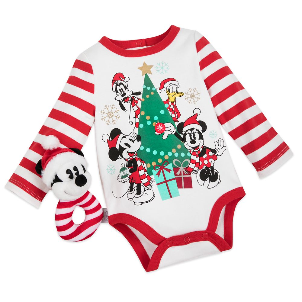 Mickey Mouse and Friends Holiday Bodysuit and Rattle Set for Baby