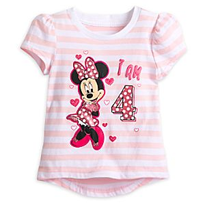 "Minnie Mouse ""I Am 4"" Birthday Tee for Girls"