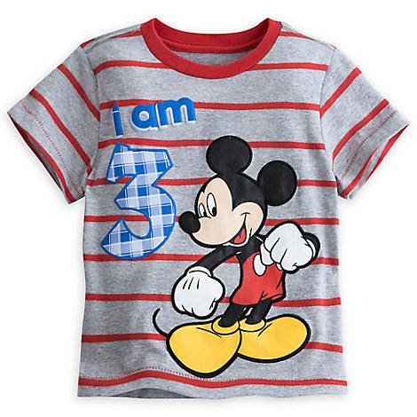 Mickey Mouse ''I Am 3'' Birthday Tee for Boys - Gray