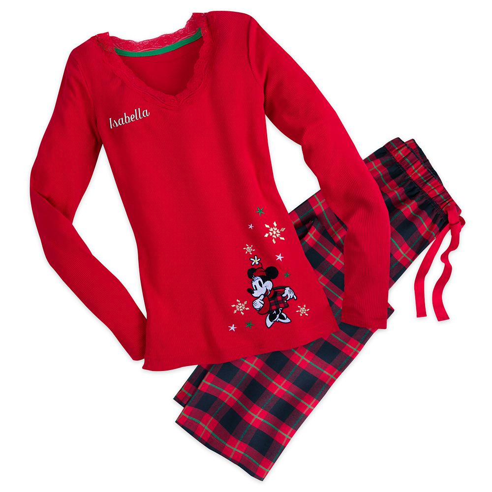 Minnie Mouse Holiday Plaid PJ Set for Women - Personalizable
