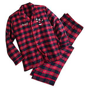 Mickey Mouse Holiday Plaid PJ Set for Men - Personalizable 4901055252195M