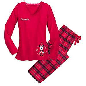 Image of Minnie Mouse Christmas Plaid Pajamas for Women - Personalized