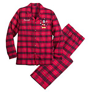 Image of Mickey Mouse Christmas Plaid Pajamas for Men - Personalized