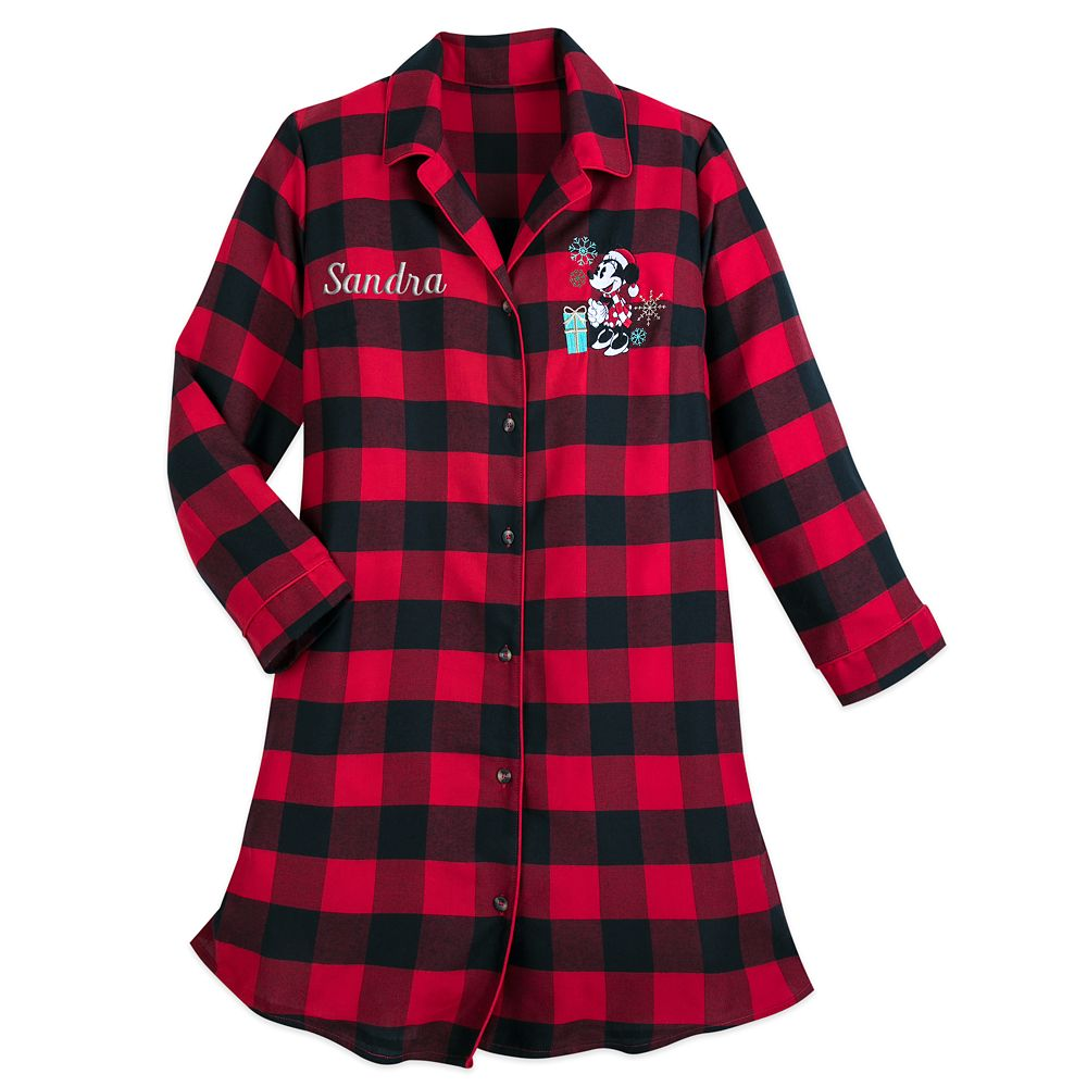 Image of Minnie Mouse Christmas Plaid Nightshirt for Women Personalized