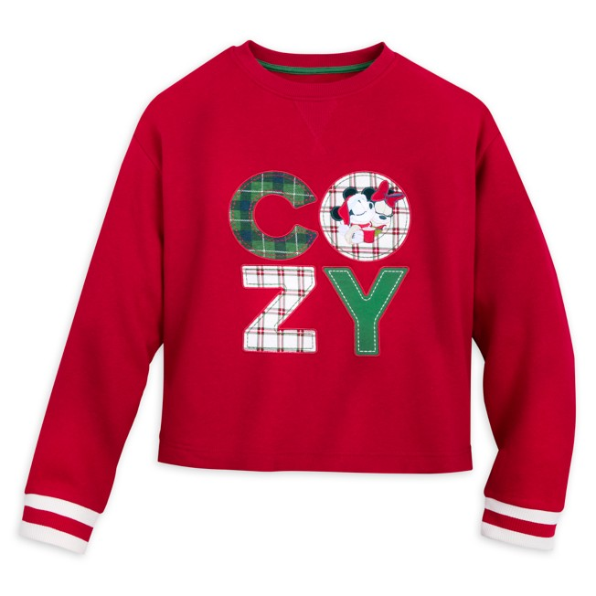 Mickey and Minnie Mouse Holiday Pullover Sweatshirt for Women