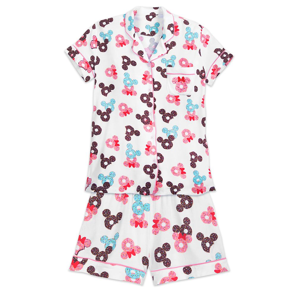 Mickey and Minnie Mouse Donut Pajama Set for Women