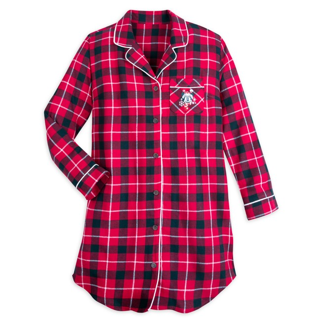 Minnie Mouse Holiday Plaid Flannel Nightshirt for Women – Personalized
