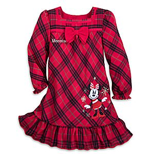 Image of Minnie Mouse Christmas Plaid Nightshirt for Girls - Personalized