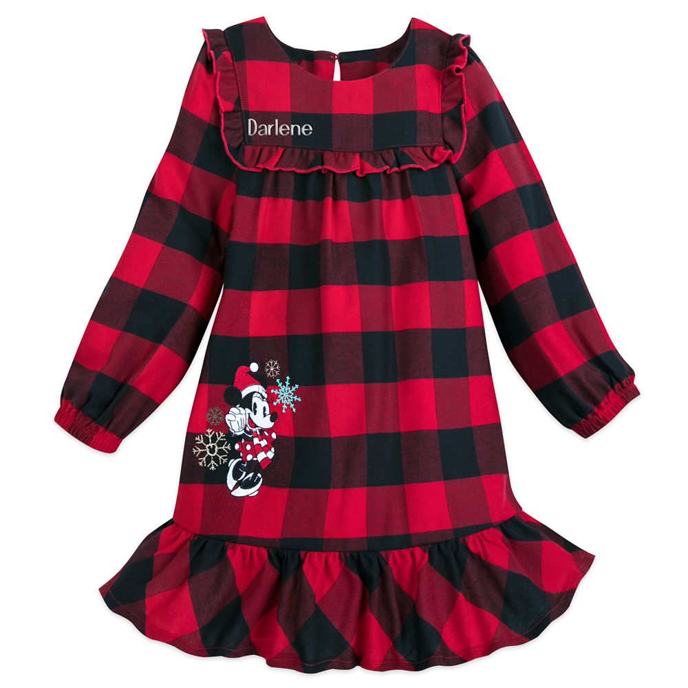 Image of Minnie Mouse Christmas Plaid Nightshirt for Girls Personalized