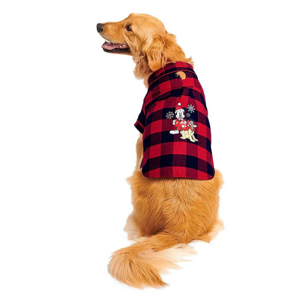 Mickey Mouse and Pluto Holiday Plaid Nightshirt for Dogs – Personalized