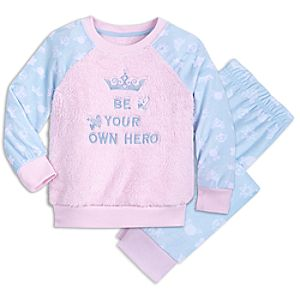 Image of Disney Princess Fuzzy Pajama Set for Kids