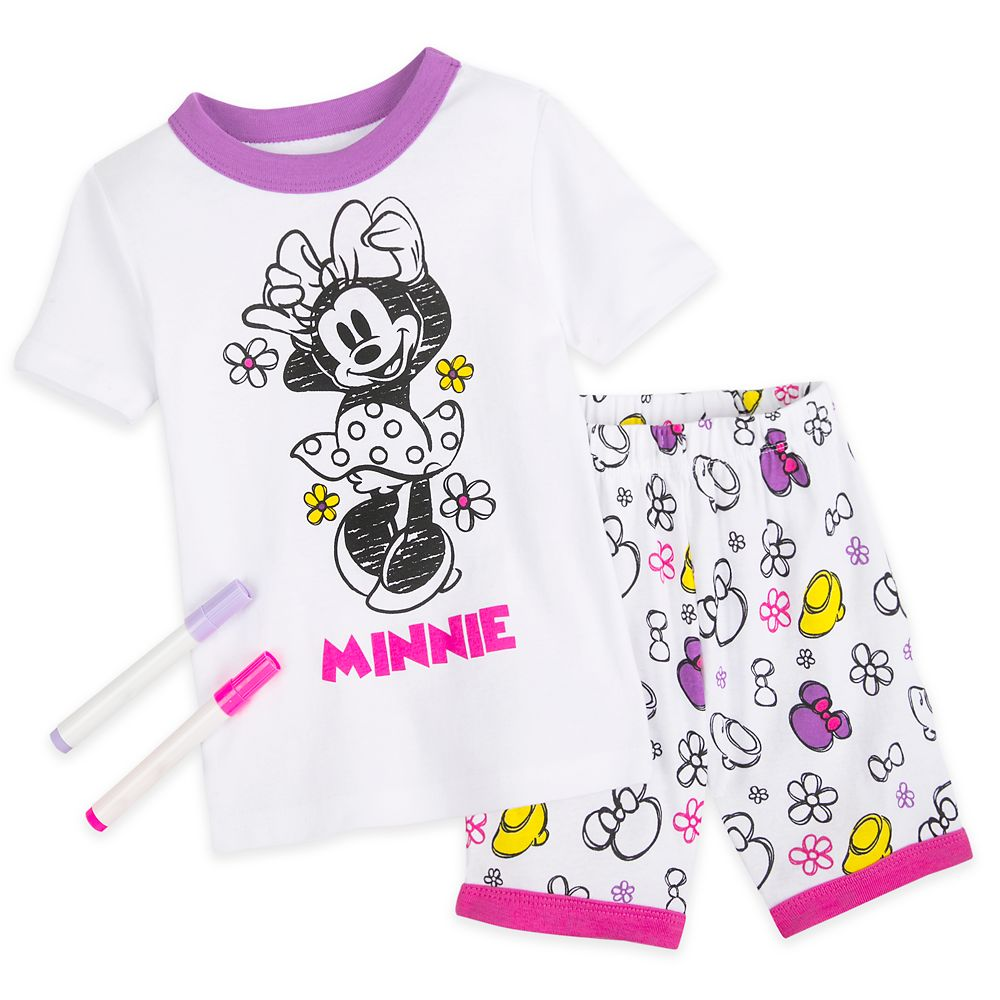 Minnie Mouse Colorable Pajama and Marker Set for Girls
