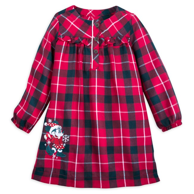 Minnie Mouse Holiday Plaid Flannel Nightshirt for Girls – Personalized