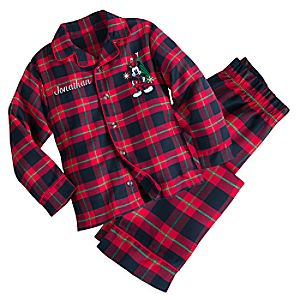 Mickey Mouse Holiday Plaid PJ Set for Boys - Personalizable 4903055252193M