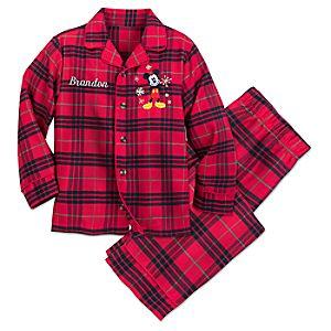 Image of Mickey Mouse Christmas Plaid Pajamas for Boys - Personalized