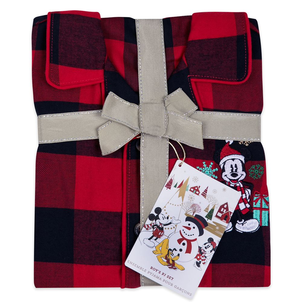 Mickey Mouse Holiday Plaid PJ Set for Boys – Personalized