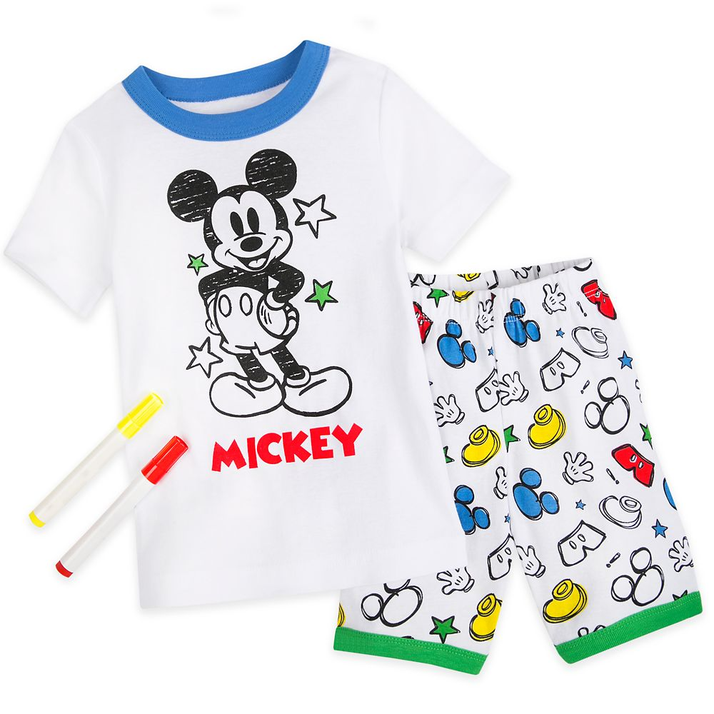 Mickey Mouse Colorable Pajama and Marker Set for Boys