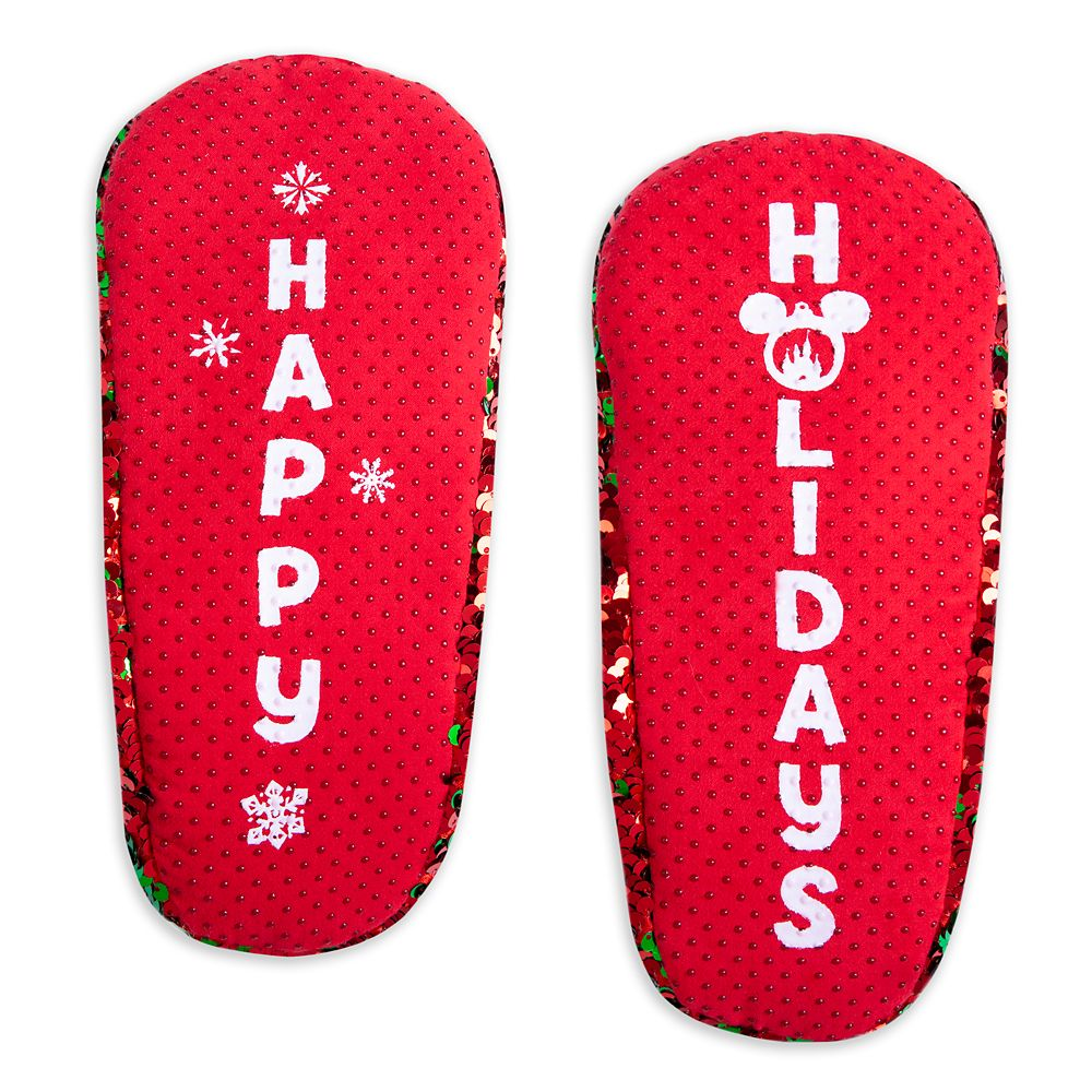 Mickey and Minnie Mouse Reversible Sequins Holiday Slippers for Adults