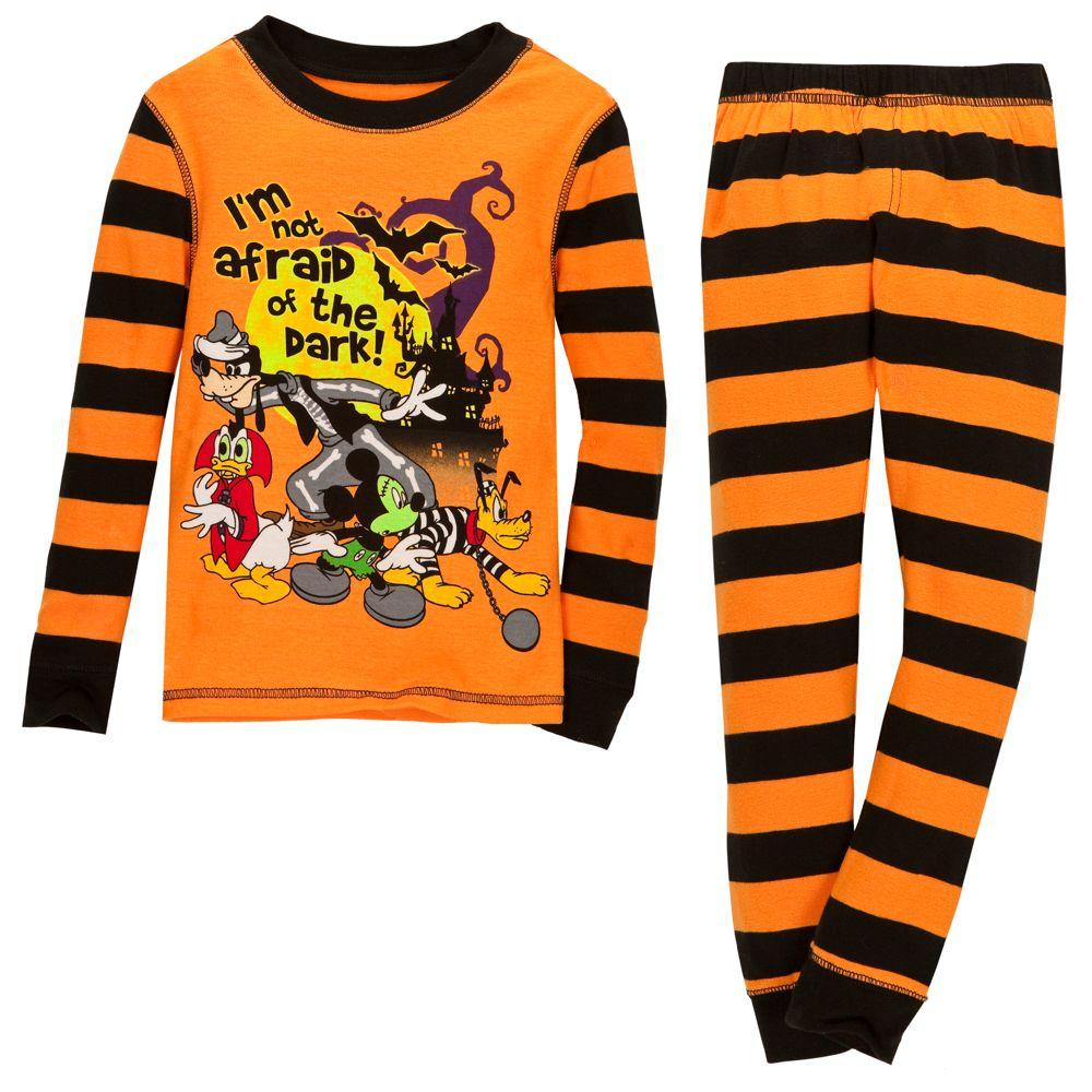Mickey Mouse /& Pluto Halloween Glow in The Dark Cotton Snug Fit Pajamas