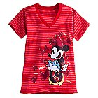 Minnie Mouse Striped V-Neck Tee for Women