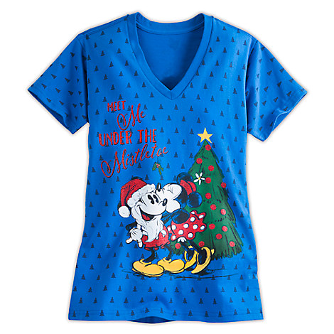Santa Mickey and Minnie Mouse Holiday Tee for Women
