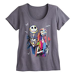 Jack Skellington and Sally Scoop Neck Tee for Women - Plus Size