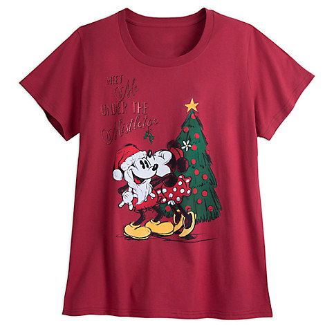 Santa Mickey and Minnie Mouse Holiday Tee for Women - Plus Size