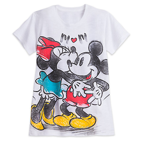 Mickey and Minnie Mouse Slub Tee for Women