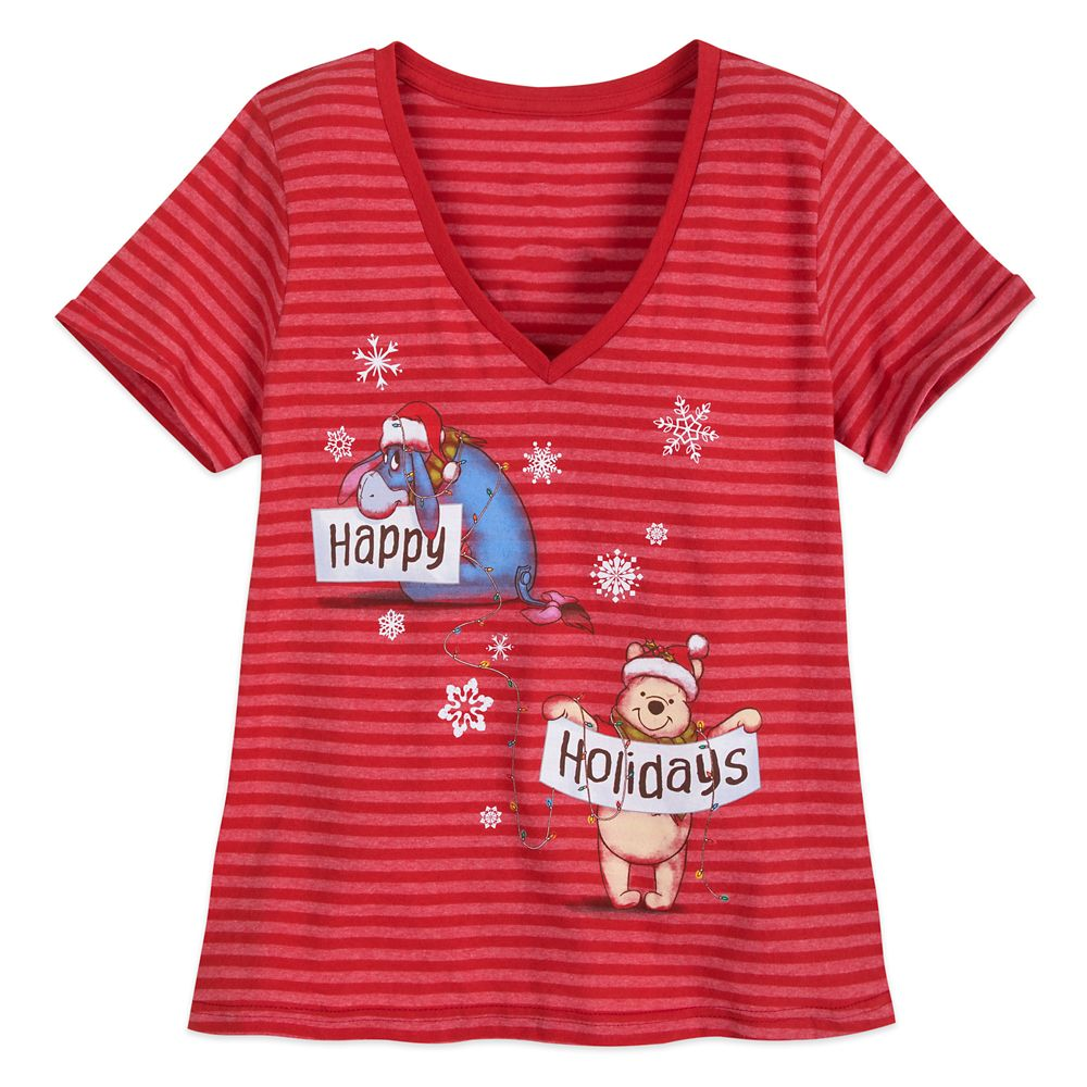 Winnie the Pooh Striped Holiday T-Shirt for Women