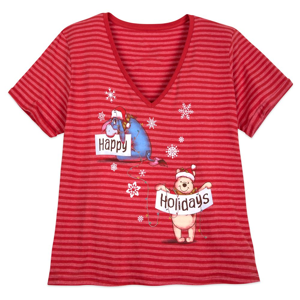 Winnie the Pooh Striped Holiday T-Shirt for Women – Extended Size