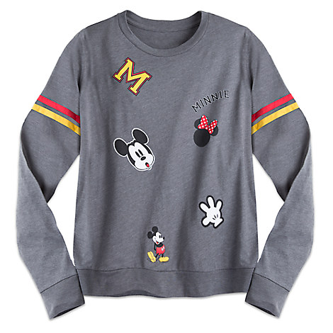 Mickey and Minnie Mouse Long Sleeve Collegiate Tee for Juniors