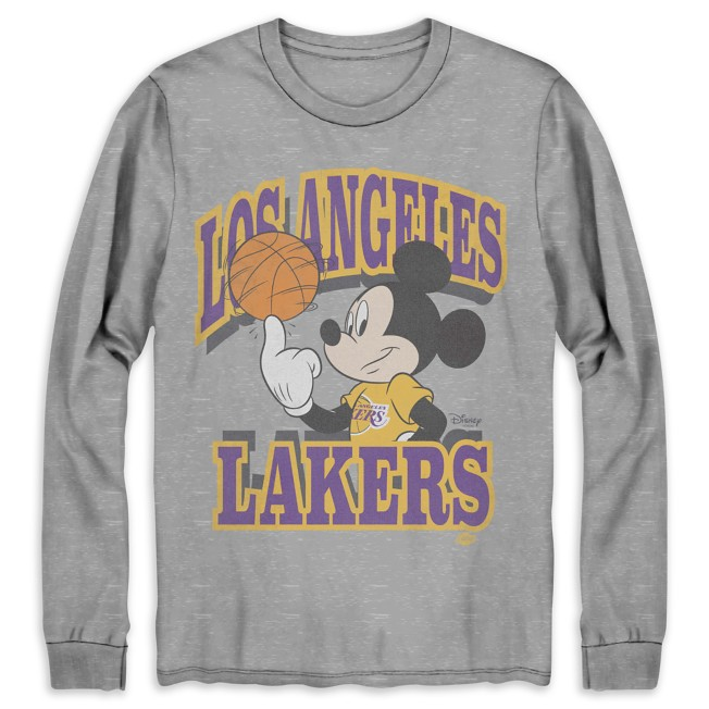 Mickey Mouse Los Angeles Lakers Long Sleeve T-Shirt for Adults by Junk Food