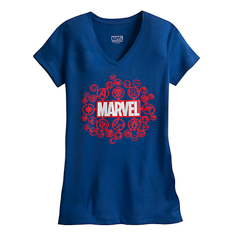 Marvel Logo and Icons Tee for Women