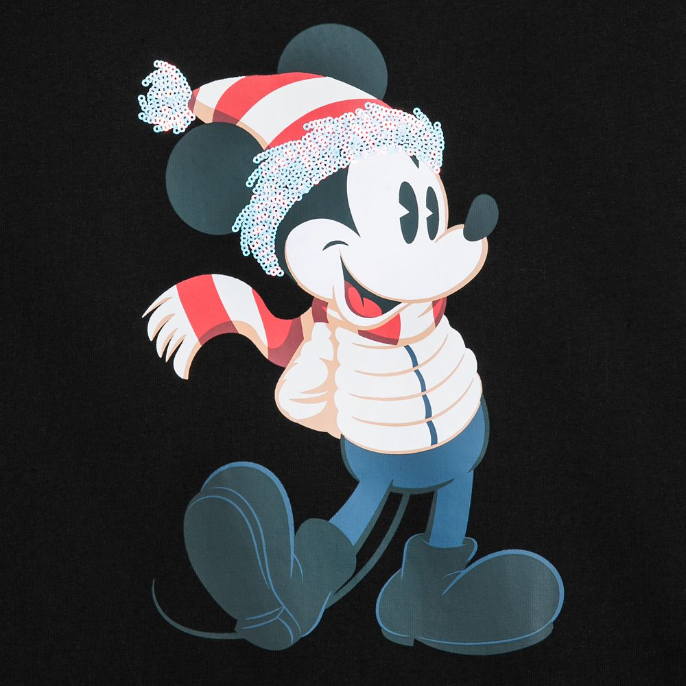 Mickey Mouse Sequined Holiday Tee for Women